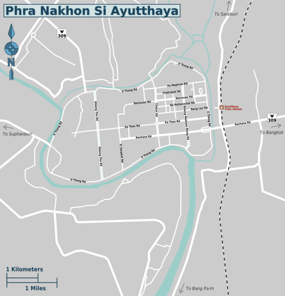 Ayutthaya day trip price map -regions