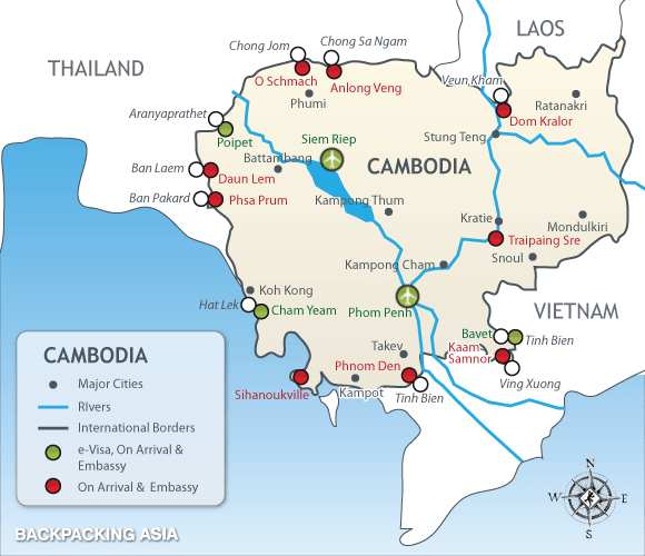 Visa Policy Of Thailand Vietnam Cambodia Portal Za: Thailand Laos Border Crossing Map At Infoasik.co
