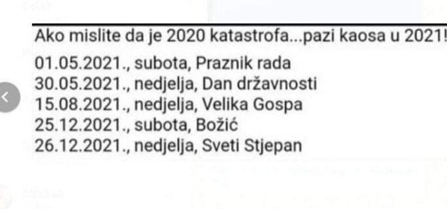 Neradni dani i državni praznici u Hrvatskoj 2021. godina