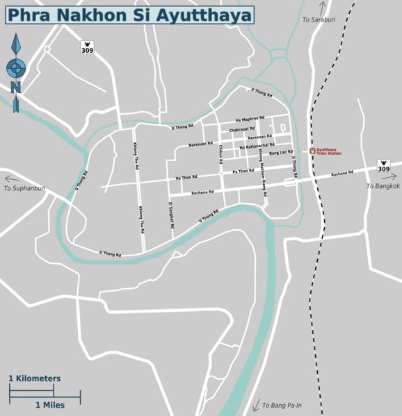 Ayutthaya day trip price map -regions