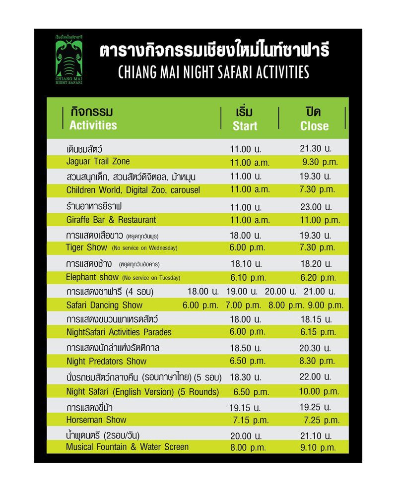 Chiang Mai Night Safari activity