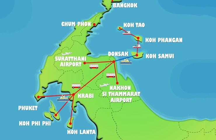 Mapa trajekti tajandski otoci thaimer